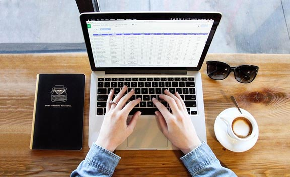 A remote worker performing accounting work