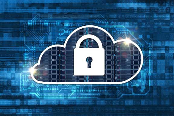Cloud icon with a padlock on digital background, illustrating cloud hosting safety concept