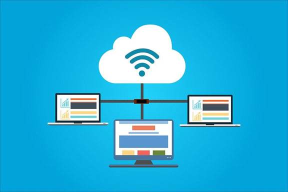 A vector image illustrating the concept of cloud computing over the internet