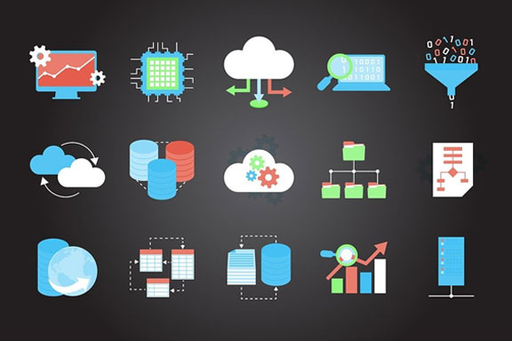 A vector image illustrating the concept of cloud hosting and connectivity