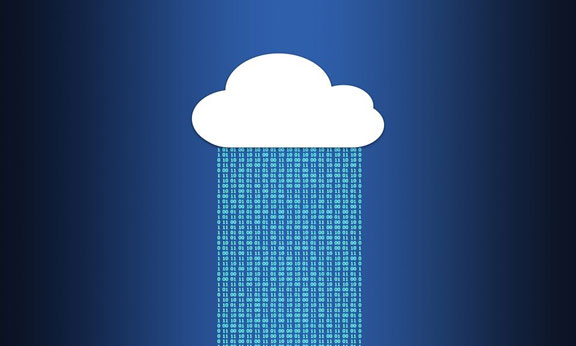 A vector image of a cloud showering binary digits in a blue background