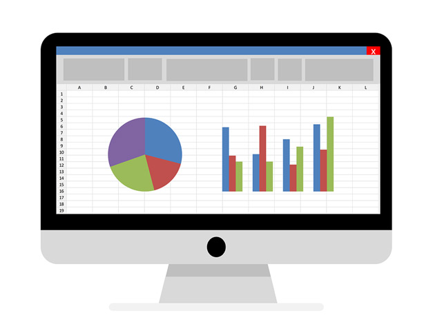 An accounting spreadsheet with a pie chart and a bar graph