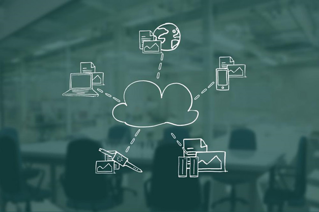 A drawing of a cloud with links to different illustrations of computers, phones, the internet, etc