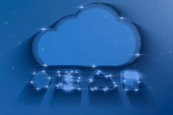 A 3D illustration showing the concept of cloud computing