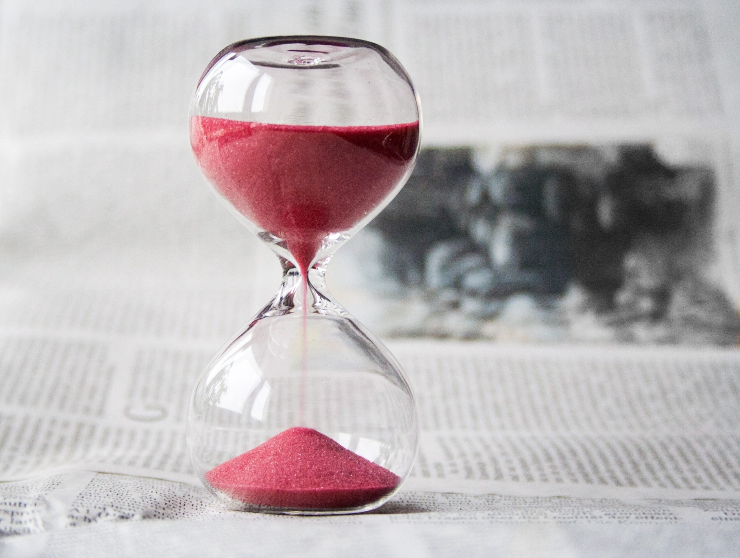 An hourglass symbolizing time