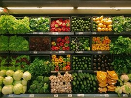 Vegetable aisle in a local grocery store