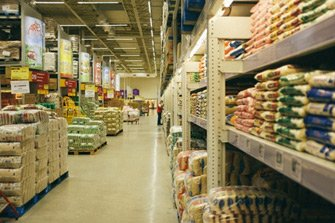 : A supermarket with stocked shelves
