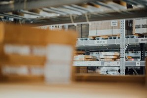 Categorized stock placed on warehouse shelves